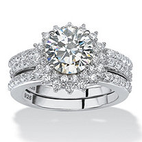 3.12 TCW Round Cubic Zirconia Halo Bridal Jacket Ring Set in Platinum over Sterling Silver