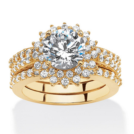 3.27 TCW Cubic Zirconia Vintage-Style Halo Jacket Bridal Set in 14k Gold over .925 Sterling Silver at PalmBeach Jewelry