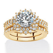 SETA JEWELRY 3.27 TCW Cubic Zirconia Vintage-Style Halo Jacket Bridal Set in 14k Gold over .925 Sterling Silver
