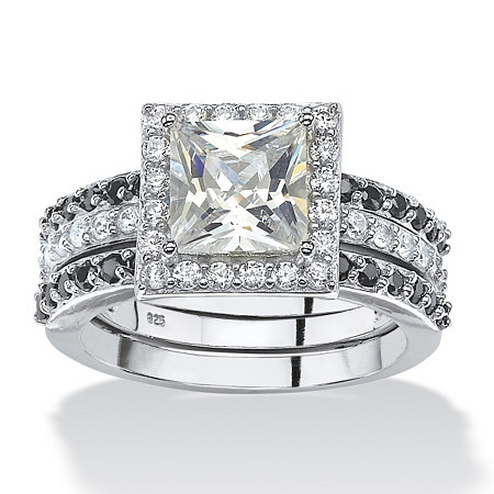 2.64 TCW Princess-Cut Cubic Zirconia Halo Bridal Jacket Ring Set in Platinum over Sterling Silver at PalmBeach Jewelry