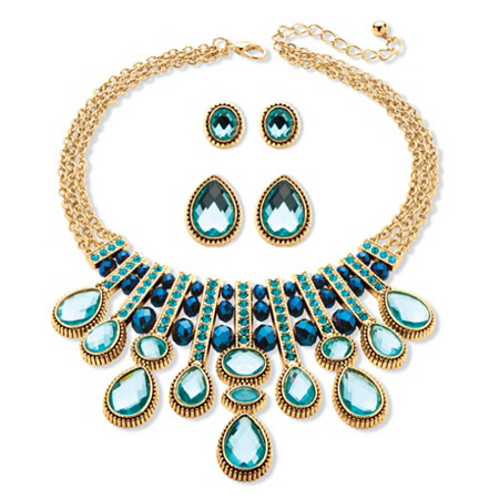 Multi-Shape Aquamarine and Blue Crystal Three-Piece Necklace and Earrings Set in Gold Tone at PalmBeach Jewelry
