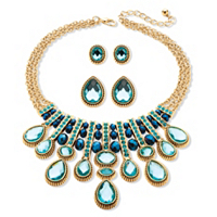 Multi-Shape Aquamarine And Blue Crystal Three-Piece Necklace And Earrings Set In Gold Tone ONLY $29.99