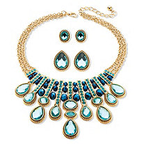 SETA JEWELRY Multi-Shape Aquamarine and Blue Crystal Three-Piece Necklace and Earrings Set in Gold Tone