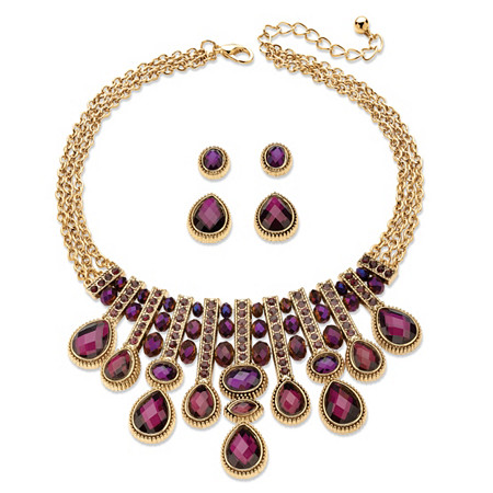 Pear-Cut and Oval Simulated Amethyst Necklace and 2-Pair Stud Earrings Set in Gold Tone 18