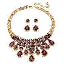 "Pear-Cut and Oval Simulated Amethyst Necklace and 2-Pair Stud Earrings Set in Gold Tone 18""-22"""