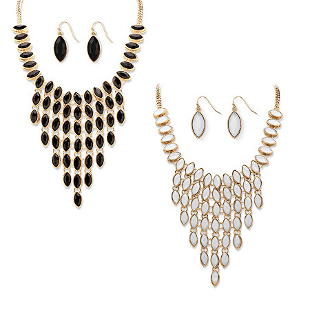 Black and White Simulated Crystal Three-Piece Reversible Necklace and Earrings Set in Gold Tone at PalmBeach Jewelry
