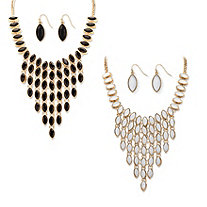 Black and White Simulated Crystal Three-Piece Reversible Necklace and Earrings Set in Gold Tone