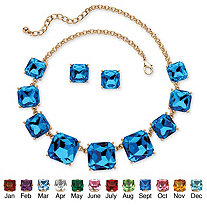 "Princess-Cut Birthstone Crystal 2-Piece Necklace and Stud Earrings Set in Gold Tone Adjustable 18""-21"""