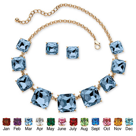Princess-Cut Birthstone Crystal 2-Piece Necklace and Stud Earrings Set in Gold Tone Adjustable 18