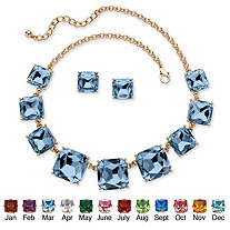 Cushion-Cut Birthstone Crystal 2-Piece Necklace and Stud Earrings Set in Gold Tone Adjustable 18