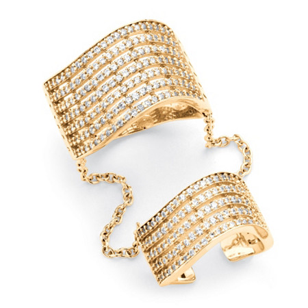 1.26 TCW Pave Cubic Zirconia Multi-Row Double Cuff Ring in 14k Gold over .925 Sterling Silver at PalmBeach Jewelry