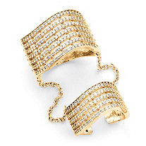 1.26 TCW Pave Cubic Zirconia Multi-Row Double Cuff Ring in 14k Gold over .925 Sterling Silver