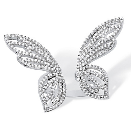 1.38 TCW Pave Cubic Zirconia Adjustable Butterfly Cocktail Ring in Platinum over Sterling Silver at PalmBeach Jewelry