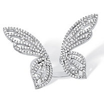 1.38 TCW Pave Cubic Zirconia Adjustable Butterfly Cocktail Ring in Platinum over Sterling Silver