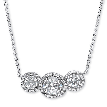 2.67 TCW Round Cubic Zirconia Crossover Halo Pendant Necklace in Platinum over Sterling Silver at PalmBeach Jewelry