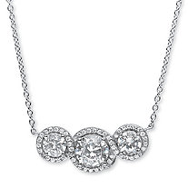 2.67 TCW Round Cubic Zirconia Crossover Halo Pendant Necklace in Platinum over Sterling Silver
