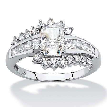 Princess-Cut Cubic Zirconia Engagement Ring in Solid 10k White Gold 1.36 TCW at PalmBeach Jewelry