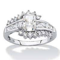 Princess-Cut Cubic Zirconia Engagement Ring In Solid 10k White Gold ONLY $99.99