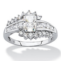 Princess-Cut Cubic Zirconia Engagement Ring in Solid 10k White Gold 1.36 TCW