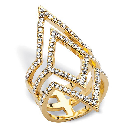 Pave Crystal Geometric Cocktail Ring MADE WITH SWAROVSKI ELEMENTS 14k Yellow Gold-Plated at PalmBeach Jewelry