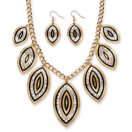 Crystal and Black Enamel Leaf Motif Necklace and Earrings Set in Gold Tone at PalmBeach Jewelry