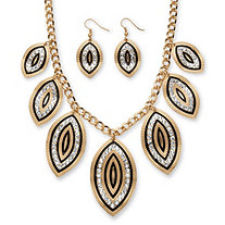 SETA JEWELRY Crystal and Black Enamel Leaf Motif Necklace and Earrings Set in Gold Tone