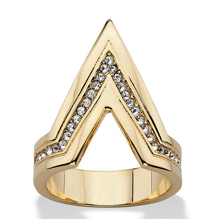 Pave Crystal Chevron Cocktail Ring MADE WITH SWAROVSKI ELEMENTS 14k Gold-Plated at PalmBeach Jewelry