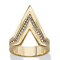 SETA JEWELRY Pave Crystal Chevron Cocktail Ring MADE WITH SWAROVSKI ELEMENTS 14k Gold-Plated