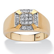 SETA JEWELRY Men's 1/4 TCW Diamond Cross Ring in 10k Yellow Gold