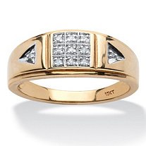 Men's 1/10 TCW Diamond Grid Pattern Band in 10k Yellow Gold