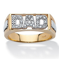 "Men's 1/8 TCW Diamond Two-Tone ""Dad"" Ring in 10k Yellow Gold"