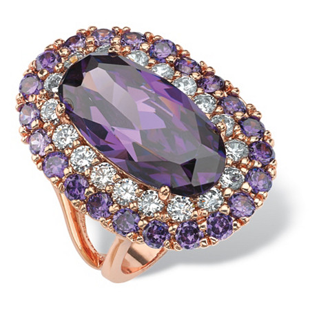 22 TCW Oval-Cut Simulated Purple Amethyst Double Halo Cocktail Ring in Rose Gold-Plated at PalmBeach Jewelry