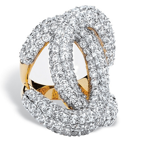 6.10 TCW Cubic Zirconia Designer-Inspired Interlocking Loop Ring 14k Yellow Gold-Plated at PalmBeach Jewelry