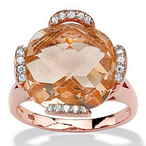 .19 TCW Cushion-Cut Simulated Morganite and Cubic Zirconia Cocktail Ring in Rose Gold-Plated
