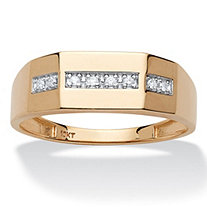 Men's 5/8 TCW Diamond Wedding Band in 10k Yellow Gold