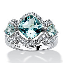 4.42 TCW Genuine Blue and White Topaz Ring in Platinum over Sterling Silver