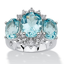 10.25 TCW Genuine Oval-Cut Blue and White Topaz Ring in Platinum over Sterling Silver