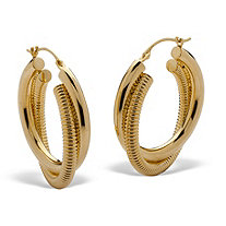 "Twisted Textured 14k Gold Nano Diamond Resin Filled Hoop Earrings (1.25"")"