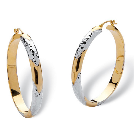 14k Gold Diamond-Cut Two-Tone Hoop Earrings Nano Diamond Resin Filled at PalmBeach Jewelry