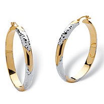 "14k Gold Diamond-Cut Two-Tone Hoop Earrings Nano Diamond Resin Filled (1 1/2"")"