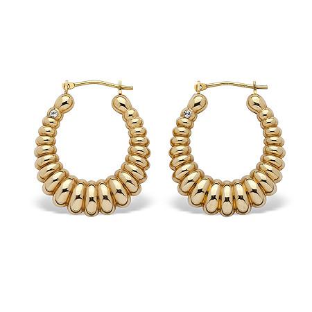 "14k Gold Shrimp-Style Hoop Earrings Nano Diamond Resin Filled  (3/4"") at PalmBeach Jewelry"