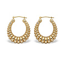 14k Gold Shrimp-Style Hoop Earrings Nano Diamond Resin Filled  (3/4