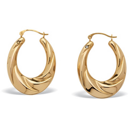 14k Gold Twisted Hoop Earrings Nano Diamond Resin Filled at PalmBeach Jewelry