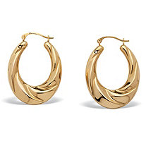 "14k Gold Twisted Hoop Earrings Nano Diamond Resin Filled (7/8"")"
