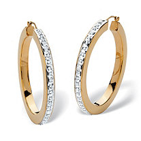 "Diamond Fascination 14k Gold Nano Diamond Resin Filled Hoops (1 1/2"")"