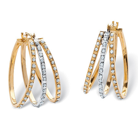 Diamond Fascination Triple Hoop Earrings in 14k Yellow Gold at PalmBeach Jewelry