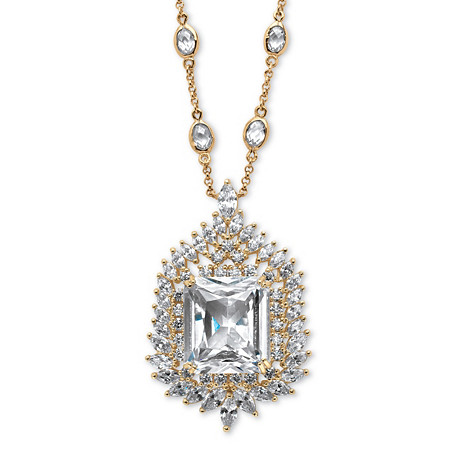 46.70 TCW Emerald-Cut Cubic Zirconia Station Necklace 14k Gold-Plated at PalmBeach Jewelry