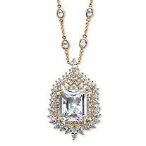46.70 TCW Emerald-Cut Cubic Zirconia Station Necklace 14k Gold-Plated