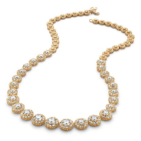 15.63 TCW Round Cubic Zirconia Halo Eternity Necklace 14k Gold-Plated at PalmBeach Jewelry