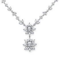 19.90 TCW Marquise and Emerald-Cut Cubic Zirconia Starburst Drop Necklace Platinum-Plated 16
